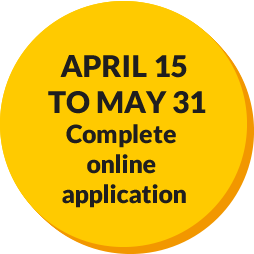 April 15 - May 31 Complete Online Application